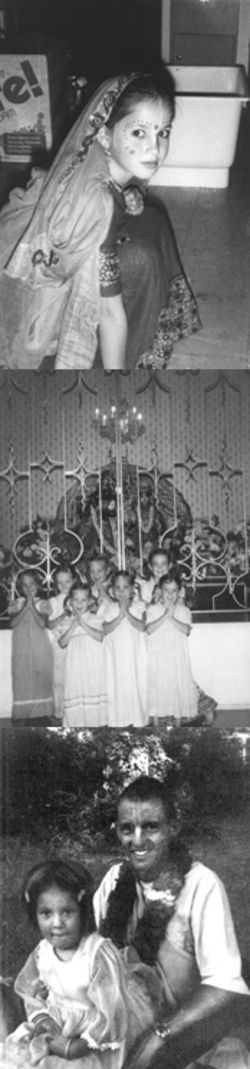 Ananda Tiller at age 6, top, was already attending the Dallas temple&#039;s gurukula, cut off from the outside world and instructed she must follow the teachings of her zonal guru, Satsvarupa, bottom. In the center photo, a 4-year-old Tiller is at the far left.