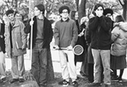 Jizz in the middle: Shawn Hatosy (left, holding rake), Jack Ferver (with racket), and Chris Jewett are the dweeb heroes of Outside Providence.