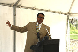 Council member Dwaine Caraway touted the Trinity toll road for the jobs it might bring his constituents.