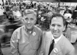 Store manager Bob Brandt, left, and vice president/general manager Stephen Butt. Butt says H-E-B is gunning for $10 billion in sales this year.