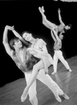 Look Tharp: Four of Twyla&#039;s six dancers prepare for the international tour.