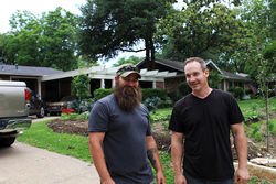 Vets James Jeffers (left) and Steve Smith are farming Oak Cliff one yard at a time.