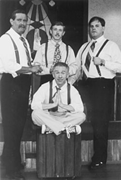Leslie Jordan (center, bottom) and (left to right, top) Terry D. Seago, Jeff Heald, and Steven D. Morris conduct a rousing revival of one gay Southern life.