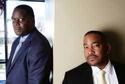 Dallas District Attorney Craig Watkins (left) and Russell Wilson of the Conviction Integrity Unit have made their names pursuing innocence claims.