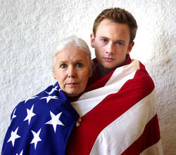 Elly Lindsay (as Grandma) and Austin Tindle (as Young Man) get wrapped up in the comedy of the absurd in WingSpan Theatre's duet of Albee plays.