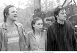 Zach Braff, right, goes home again in Garden State, with Peter Sarsgaard and Natalie Portman.